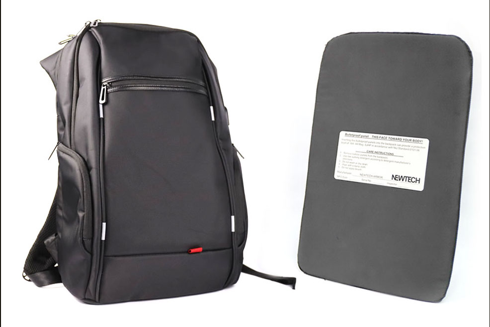 Newtech's bulletproof backpack